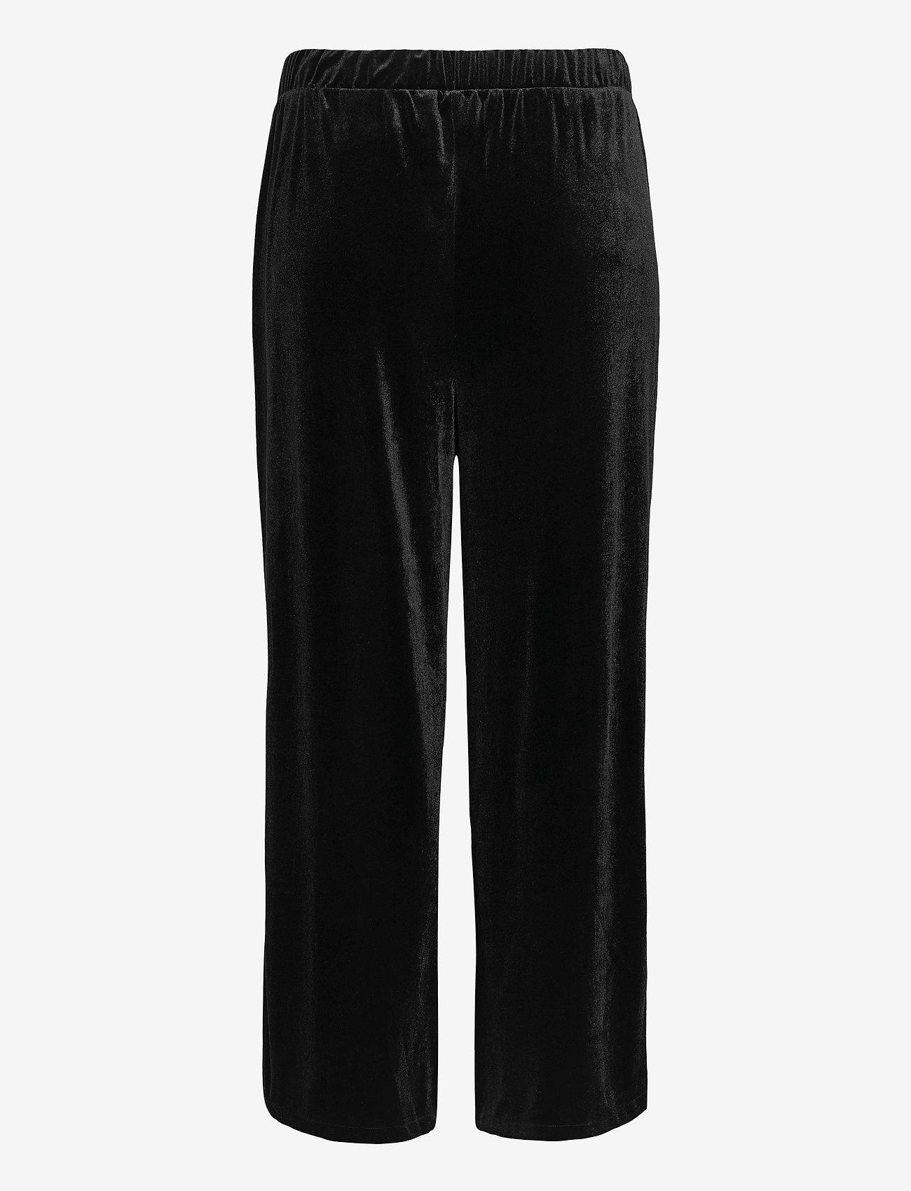 Zizzi - Pants Velvet Plus Size Loose Fit Elastic Waistband - casual shorts - black - 1