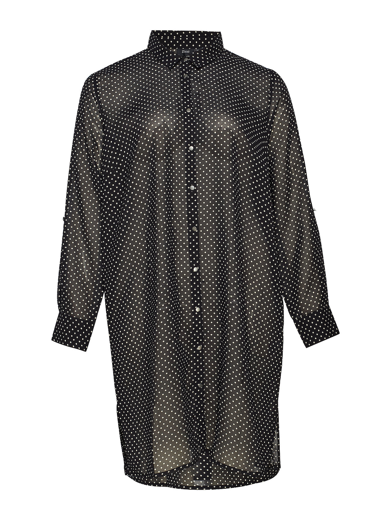 Zizzi XMARLEY, L/S, LONG SHIRT BOO - BLACK
