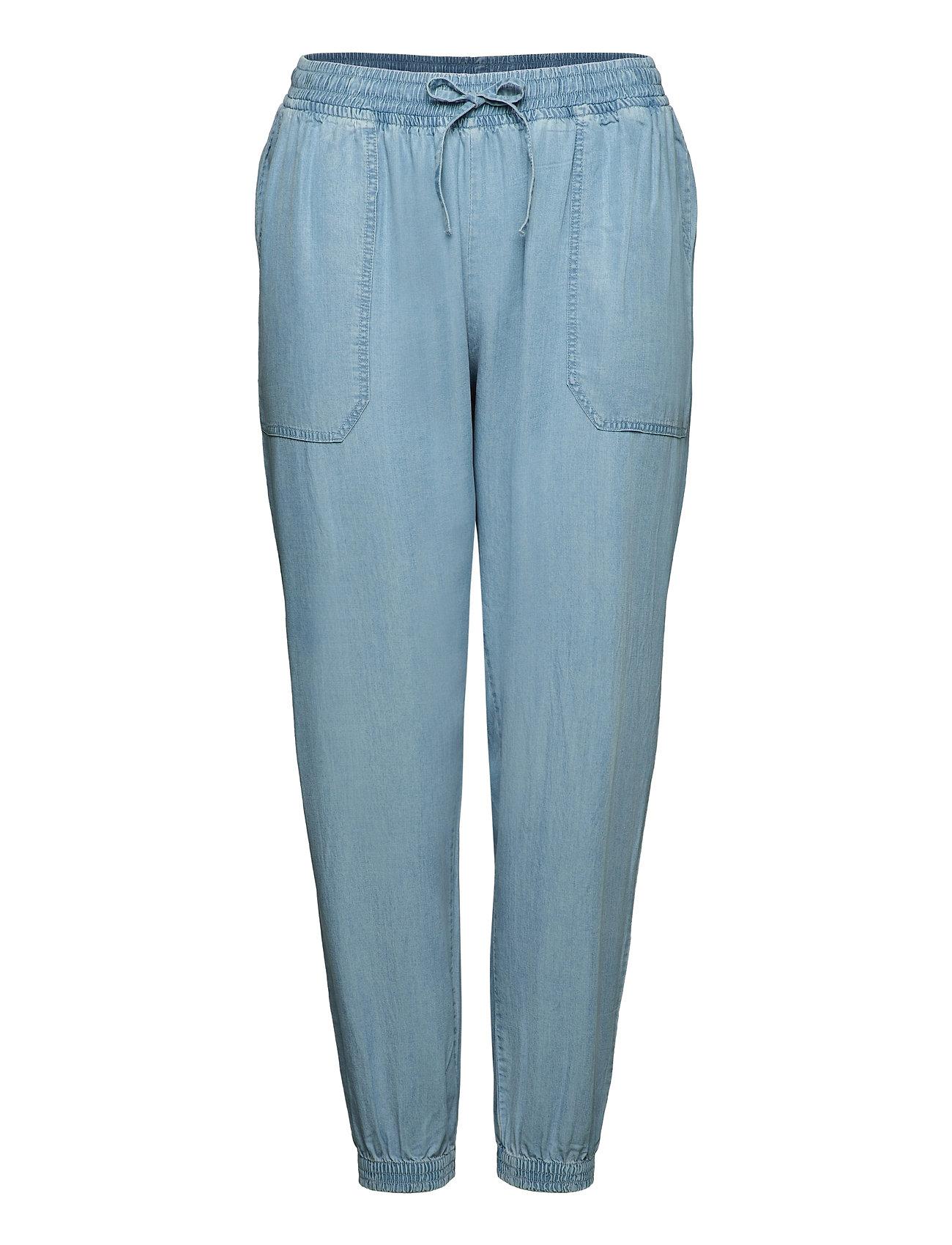 Trousers Loose Fit Plus Adjustable Drawstring Casual Bukser Blå Zizzi