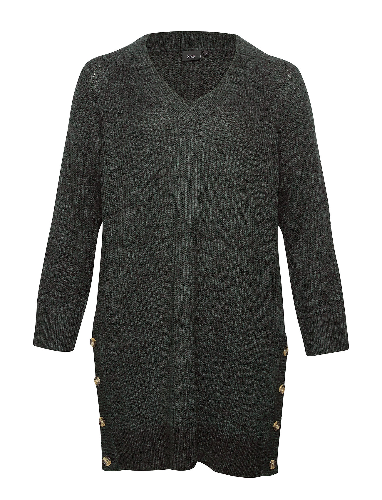 Zizzi MSELINA, L/S, DRESS, KNT - DARK GREEN