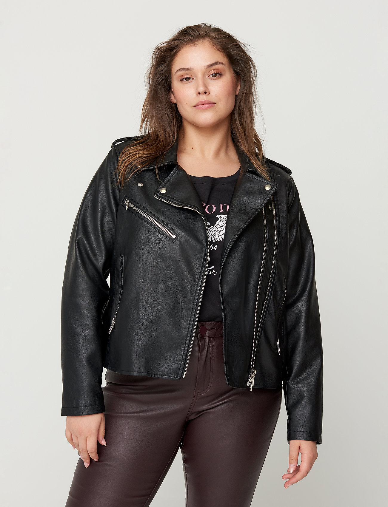 Zizzi - Faux Suede Jacket Plus Size Zipper Collar - lichte jassen - black - 0