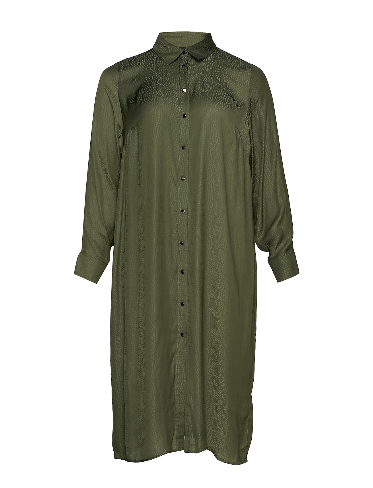Zizzi MFREY, L/S, LONG SHIRT - ARMY