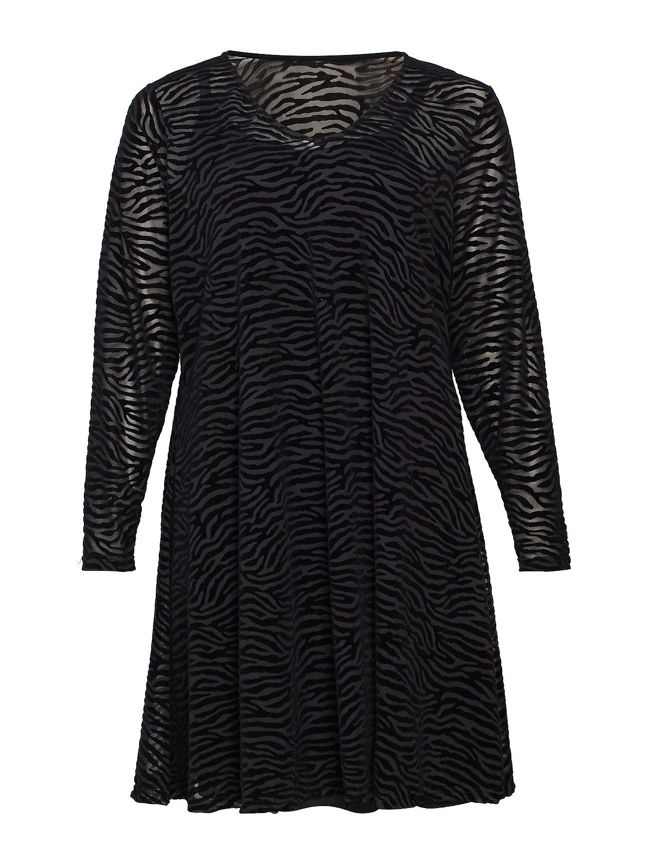 Zizzi MMARIE, L/S, MESH DRESS - BLACK