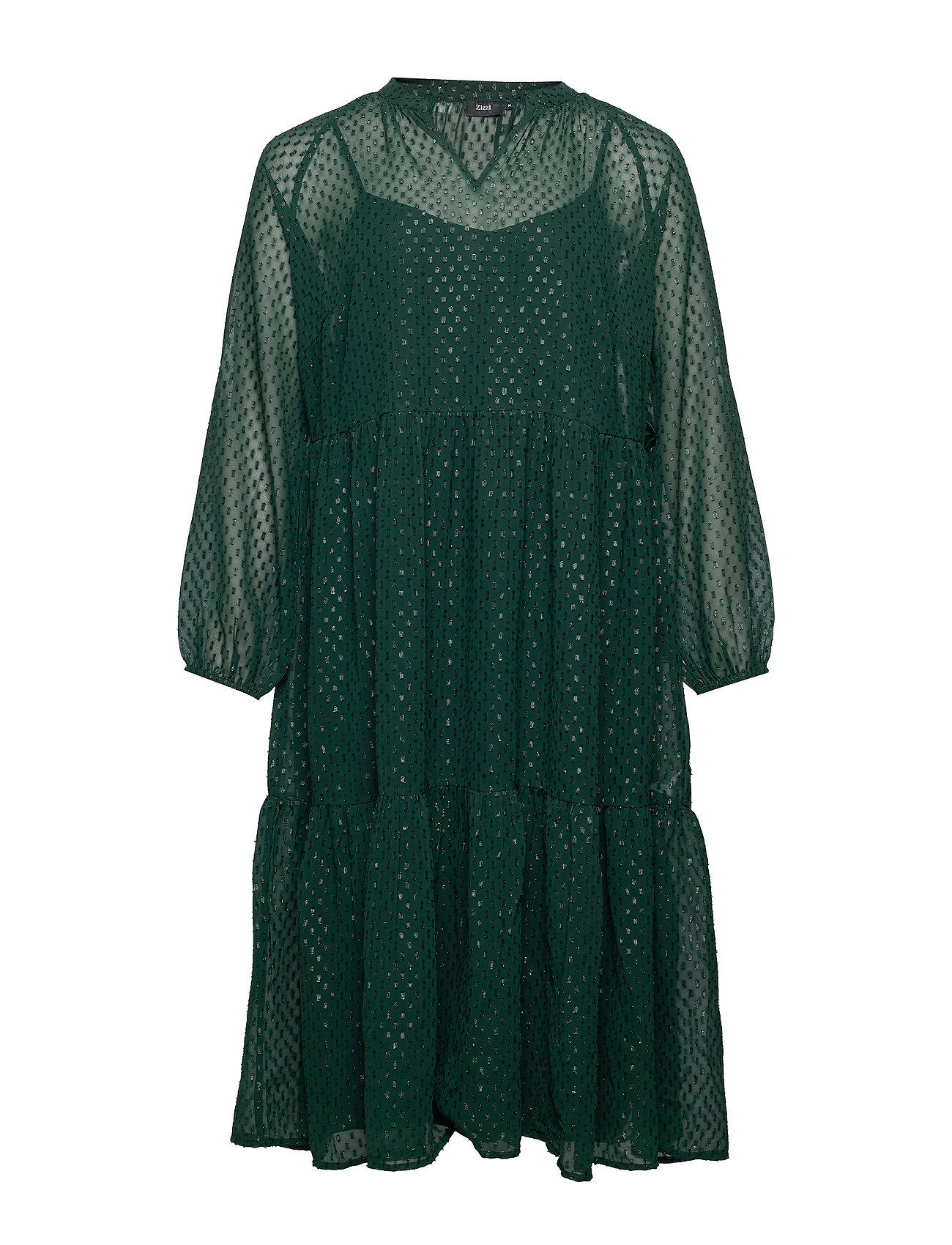 Zizzi XDRIA, L/S , DRESS - DARK GREEN