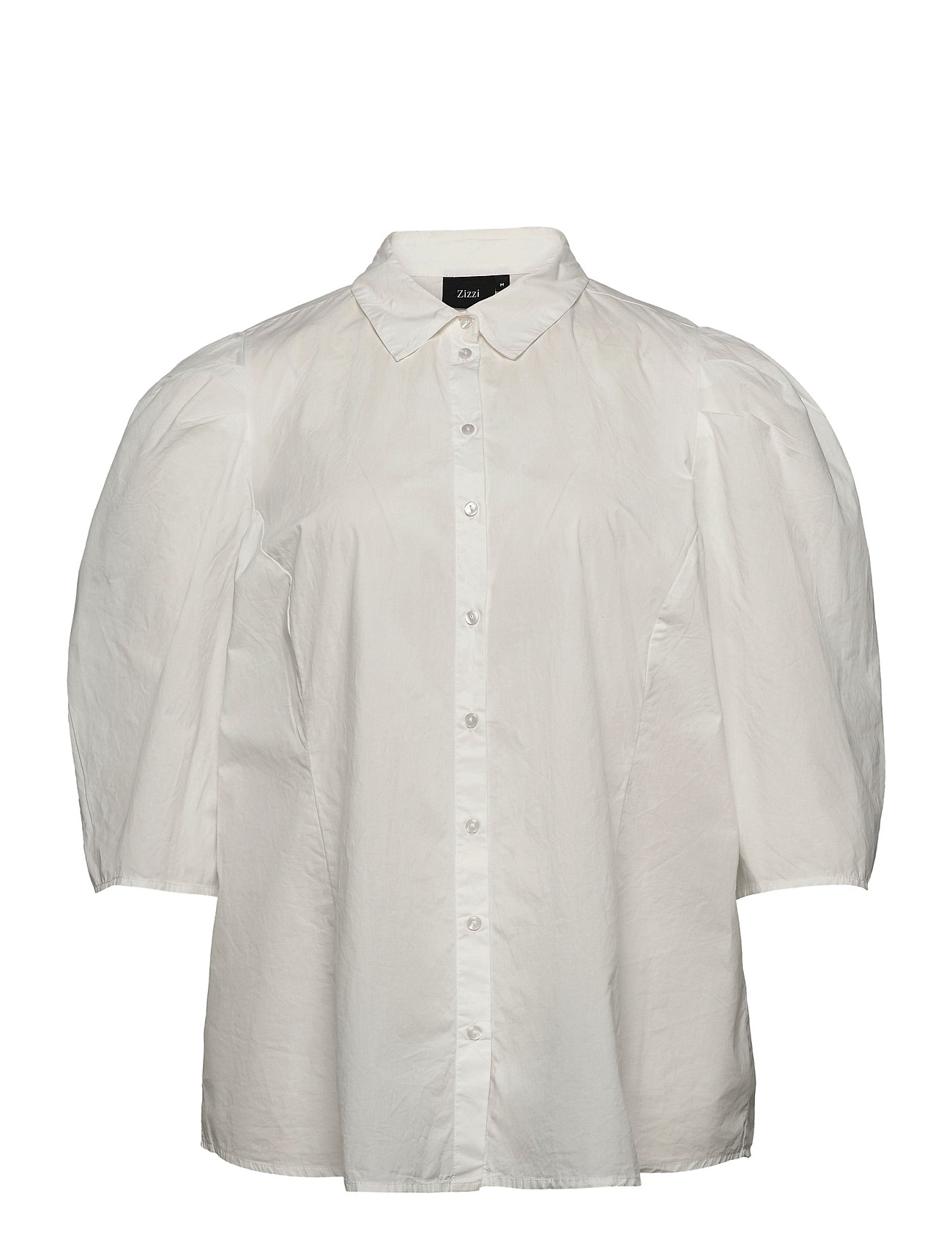 Image of Shirt Puff Sleeves Plus Cotton Buttons Kortærmet Skjorte Hvid Zizzi (3443781201)