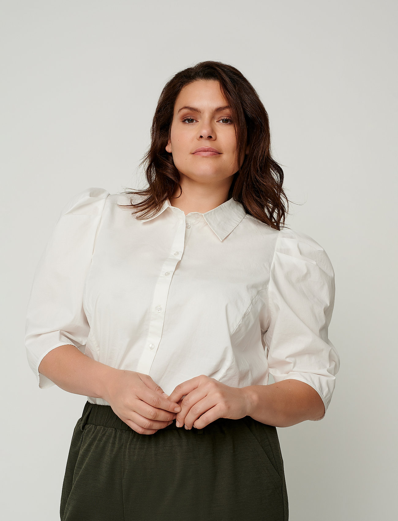 Zizzi - Shirt Puff Sleeves Plus Size Cotton Buttons - overhemden met korte mouwen - off-white - 0