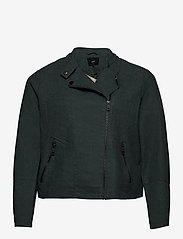 Zizzi - Faux Suede Jacket Plus Size Zipper Collar - lichte jassen - green - 1