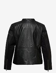 Zizzi - Leather Jacket Plus Size Pockets Zip Close-Fitting - skinnjackor - black - 2