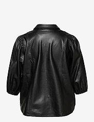 Zizzi - Shirt Immitation Leather Plus Size Puff Sleeves - overshirts - black - 1