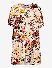 Zizzi - Dress Short Sleeves Plus Size Floral Print Viscose - sommerkjoler - beige - 0