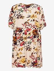 Zizzi - Dress Short Sleeves Plus Size Floral Print Viscose - sommerkjoler - beige - 1