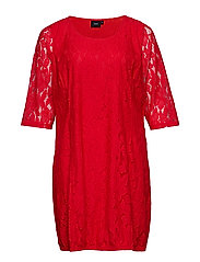 XAPONI, 3/4, LACE DRESS - GOJI BERRY