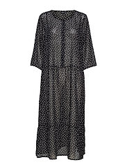 XMARLEY, 1/2, MAXI DRESS - BLACK DOT PRINT