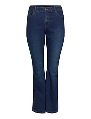 Jeans Bootcut Plus Size High Waist Flared - DARK BLUE