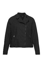 Faux Suede Jacket Plus Size Zipper Collar - BLACK