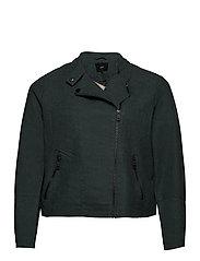 Faux Suede Jacket Plus Size Zipper Collar - GREEN