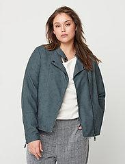 Zizzi - Faux Suede Jacket Plus Size Zipper Collar - lichte jassen - green - 0