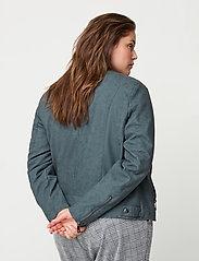 Zizzi - Faux Suede Jacket Plus Size Zipper Collar - lichte jassen - green - 4