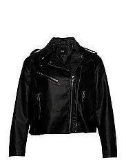 Biker Jacket Plus Size Zipper Pockets - BLACK