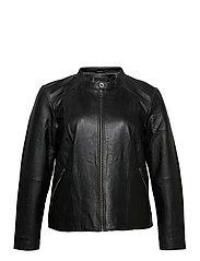 Leather Jacket Plus Size Pockets Zip Close-Fitting - BLACK