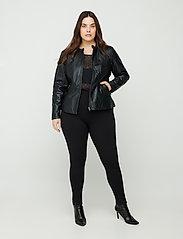 Zizzi - Leather Jacket Plus Size Pockets Zip Close-Fitting - skinnjackor - black - 3