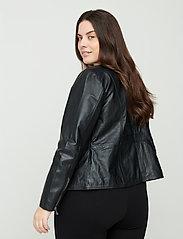 Zizzi - Leather Jacket Plus Size Pockets Zip Close-Fitting - skinnjackor - black - 4
