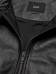 Zizzi - Leather Jacket Plus Size Pockets Zip Close-Fitting - skinnjackor - black - 5