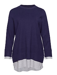 MSTRIPA L/S BLOUSE - DARK BLUE