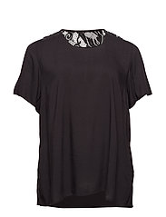 MTAYA, S/S, BLOUSE - BLACK