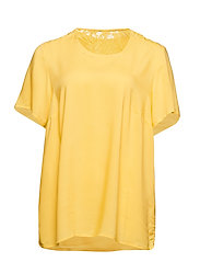MTAYA, S/S, BLOUSE - YELLOW