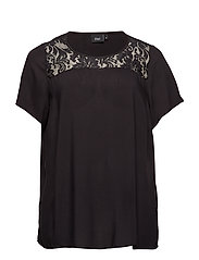 MTAYA, S/S, LACE BLOUSE - BLACK