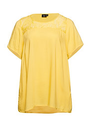 MTAYA, S/S, LACE BLOUSE - YELLOW