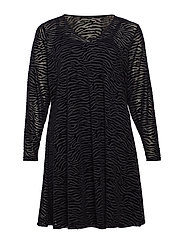 MMARIE, L/S, MESH DRESS - BLACK