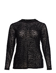 MMARIE, L/S, MESH TOP - BLACK