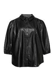Shirt Immitation Leather Plus Size Puff Sleeves - BLACK