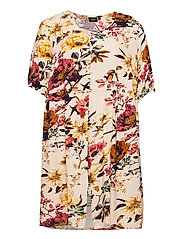Dress Short Sleeves Plus Size Floral Print Viscose - BEIGE