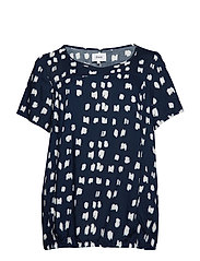 VVIGA, SS, BLOUSE - DARK BLUE