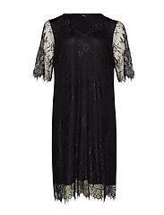 XYANA, KNEE , LACE DRESS - BLACK