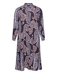 Dress Print Plus Size Long Sleeves Collar - DARK BLUE