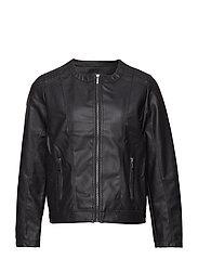 Imitated leather jacket - BLACK