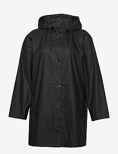 Rain Coat Hood Plus Size Pockets Buttons - sadevaatteet - black