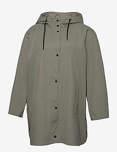 Rain Coat Hood Plus Size Pockets Buttons - sadevaatteet - light green