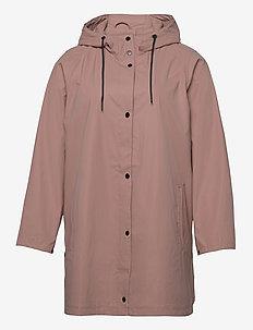 Rain Coat Hood Plus Size Pockets Buttons - vêtements de pluie - rose