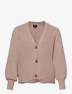 Cardigan V Neck Plus Size Buttons Ribbed Edges - neuletakit - rose
