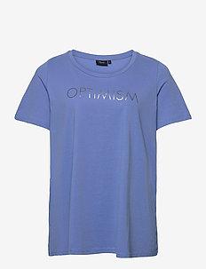 T-Shirt Round Neck Plus Size Print Cotton - t-shirts - blue