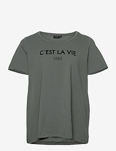 T-Shirt Round Neck Plus Size Print Cotton - t-shirts - dark green