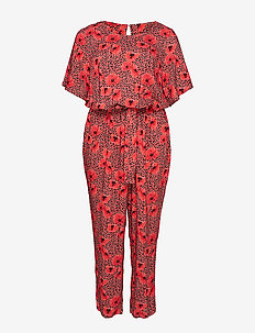 XIVA, S/S, JUMPSUIT - RED