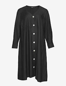 ELONE, L/S, LONG SHIRT - shirt dresses - black