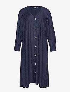 ELONE, L/S, LONG SHIRT - shirt dresses - blue