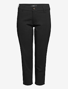 Trousers Viscose Plus Size Plain Cropped - chinos - black
